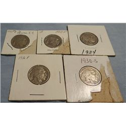 5 Buffalo nickels, 1915 P, 1927 D, 1924 P, 1930 S, 1936 P