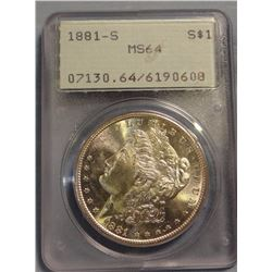1881 S  Morgan dollar, PCGS MS64
