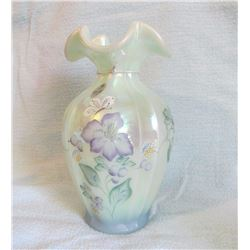 "Fenton 7 ½"" vase Historical Collection; Fenton pitcher, Blue New Century Collection hp. Signed by Bi"