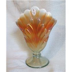 "Fenton Plum vase Aqua marked 100th yr.; Fenton bowl 11"" Golden Ebony embossed grapes"