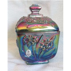 "Fenton candy box w/ lid 6"" h, embossed daffodil; Fenton Ellie Doll 1st ed., hp by P. Lauderman, 7"","
