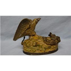 "Eagle and Eagletts vintage mechanical bank original vintage J & E Stevens, ptd. 1883, 6""h x 8""w, gol"