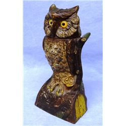"Owl Turns Head vintage mechanical bank, original J & E Stevens, ca. 1880, 7""h x 4""w, working"