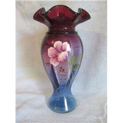 "Fenton Mulberry vase 9"", ltd. ed.  967/1250, hp"