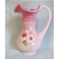 "Fenton pitcher Rosalene hp by S. Hughes 6.25""h"