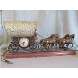 "Copper covered wagon lamp w/clock, nice, 19"" l"