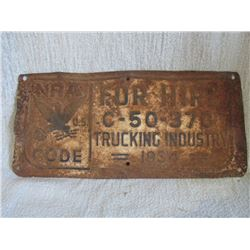 NRA plate 1934 License plate