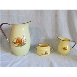 Monterey enameled dinner set w/accessory pieces