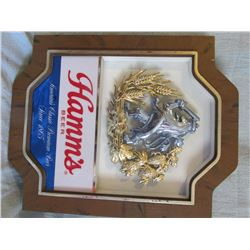 Falstaff Beer metal sign & (2) Hamms beer signs, plastic