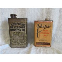 Neatsfoot Oil tin & Sheps Oil tin