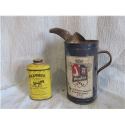 Bickmore powder & Maytag oil can
