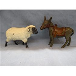 2 vintage cast iron banks, sheep and donkey