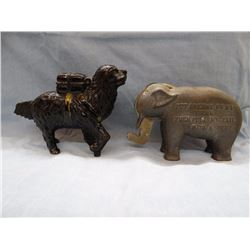 2 vintage cast iron banks, Rescue Dog and Elephant