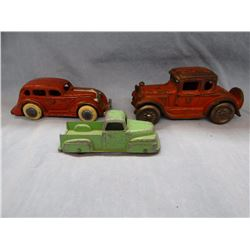 2 vintage cast iron toy cars and Tootsie Toy truck
