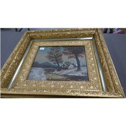 Ornate gilded vintage frame with farm scene painting on canvas