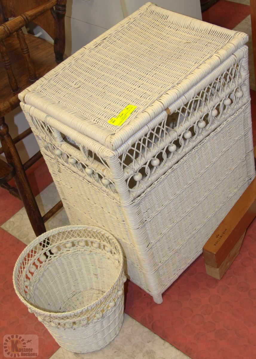 White wicker garbage can and laundry hamper - White wicker clothes hamper ...