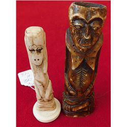 Pair of Bone Indonesian Figures
