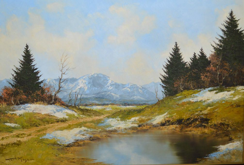 Framed oil on canvas painting of a mountain lake scene signed by ...