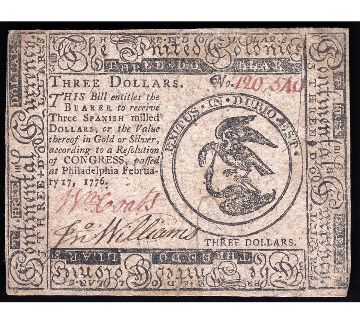 Image  1776 3 Spanish Milled Dollar Colonial Continental Currency
