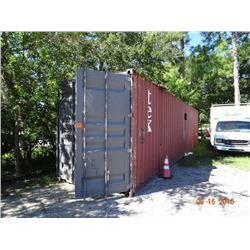 Steel 40' Shipping Container - Sides Dented - Cutout for window or A/C unit.  Wired for Electric Svc