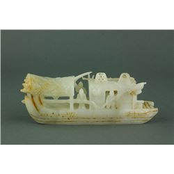 17/18th C. Chinese Fine White Jade Carved Boat