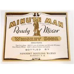 VINTAGE MINUTE MAN WHISKEY SOUR ADVERTISING BOTTLE LABEL