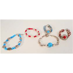LOT OF 5 TIBETAN SILVER CORAL & TURQUOISE BRACELETS