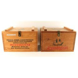 2 Vintage Wooden Ammo Crates