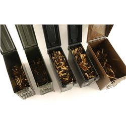 Lot of 5 Ammo Cans with Brass
