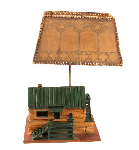 Folk art log cabin table lamp mozeypictures Image collections