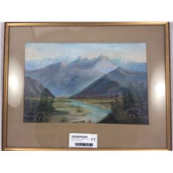 Early New Zealand Pastel of South Island - 47cm x 37cm