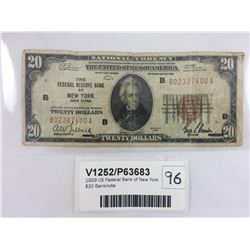 1929 US Federal Bank of New York $20 Banknote