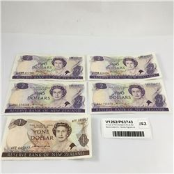 Group of New Zealand $1 & $2 Banknotes Inc. Hardie Signature