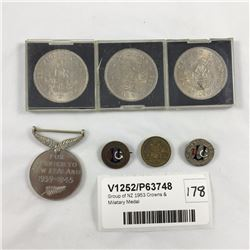 Group of NZ 1953 Crowns & Milatary Medal