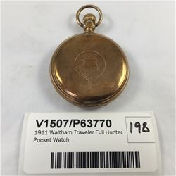 1911 Waltham Traveler Full Hunter Pocket Watch