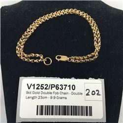 9ct Gold Double Fob Chain - Double Length 23cm - 9.9 Grams