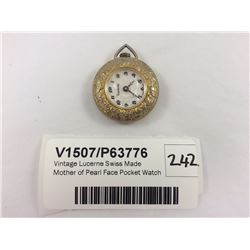 Vintage Lucerne Swiss Made Mother of Pearl Face Pocket Watch