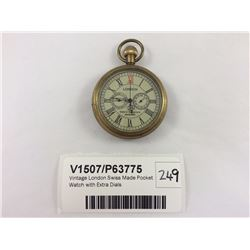 Vintage London Swiss Made Pocket Watch with Extra Dials