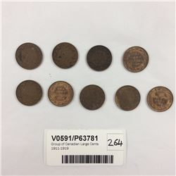 Group of Canadian Large Cents 1911-1919
