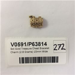 9ct Gold Treasure Chest Bracelet Charm (2.8 Grams) 15mm Wide