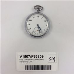 Early Open Faced Pocket Watch with Sweep Dial