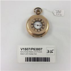 Early Swiss Made Limit Pocket Watch with Sweep Dial