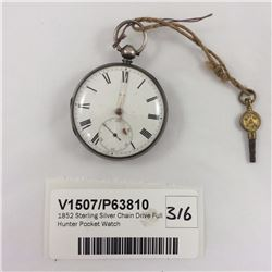 1852 Sterling Silver Chain Drive Full Hunter Pocket Watch