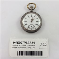 Antique .800 Silver Open Faced Pocket Watch with Sweep Dial