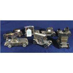SEVEN VINTAGE BANTHRICO METAL ADVERTISING CAR BANKS