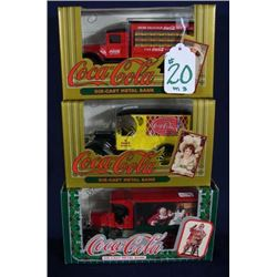 THREE DIE CAST COCA COLA TRUCK BANKS