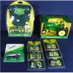 BOX LOT OF CLASSIC DIE CAST JOHN DEERE MEMORABILIA