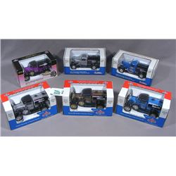 GROUP OF SIX DIE CAST METAL LOCKING COIN BANK CARS