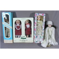 FIVE MISC PORCELAIN DOLLS IN BOXES