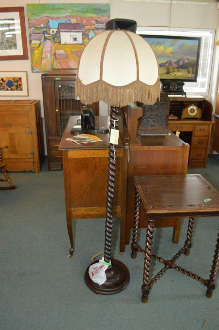 Vintage Turned Wood Barley Twist Floor Lamp With Shade